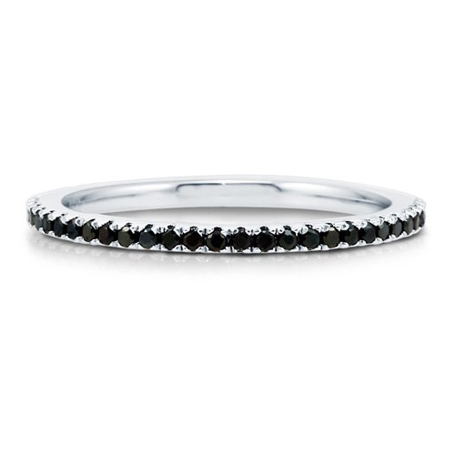 Black Cubic Zirconia CZ 925 Sterling Silver Full Eternity Ring Band - Nickel Free Engagement Wedding Band Ring Size 6