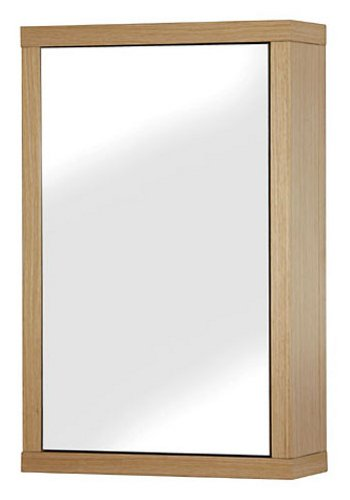 Croydex Unfold 'N' Fit 1 Door Mirror Cabinet (FSC MDF), Light Wood