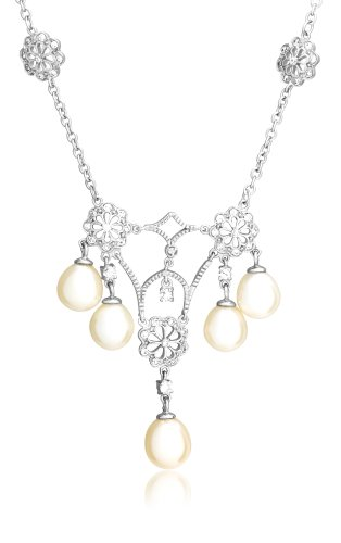 Sterling Silver Freshwater Cultured Pearl and Pave Cubic Zirconia Chandelier Necklace, 17