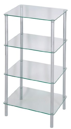 Levv 4-Tier Glass Square Shelving Unit, Clear