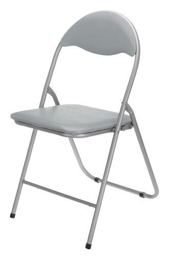 Spetebo - Sedia pieghevole in metallo con sedile e schienale imbottiti plastificati, colore: Grigio