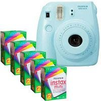 FujiFilm Instax Mini 8 Camera, 62x46mm Picture Size, Blue - Bundle - with Five TwinPacks of Fujifilm Instax Mini Instant Daylight Film, 20 Exposures (Total 100 Sheets)
