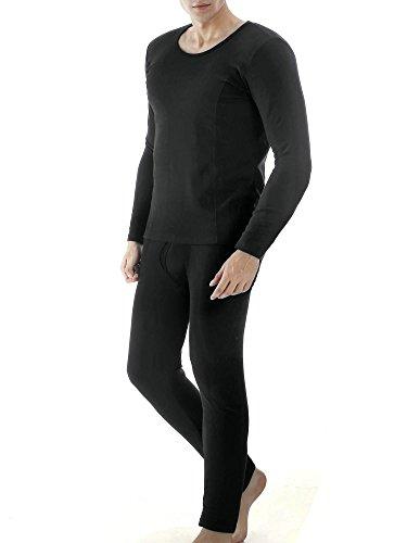 Ekouaer Men's Thermal Wear Winter Long Johns Warm Pajama Set Plus Size(Black,Large) (Thermal Pajama Men compare prices)