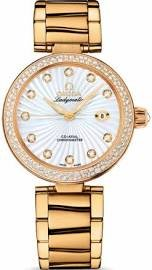 Omega De Ville Ladymatic Mother of Pearl Dial 18kt Yellow Gold Diamond Ladies Watch 42565342055002