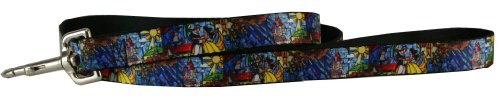 Buckle Down Dog Leash Belle - Beauty & the Beast Stained Glass Scenes