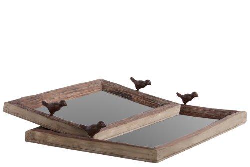 Urban Trends 25605 Decorative Oak Wood Tray, Brown, Set of 2