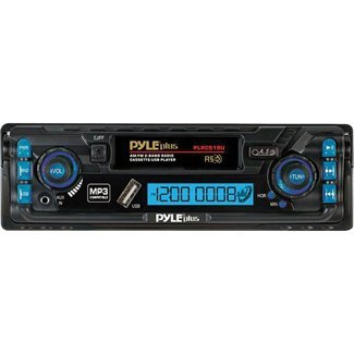 Pyle PLRCS19U AM/FM 2 Band Radio Digital Car Cassette Player MP3 Compatible Built-In USB/ AUX-IN