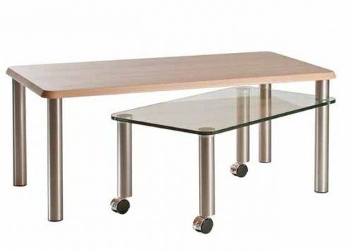 Quattro casa tavolino 4314di KBU con legno e vetro piatto in legno di faggio