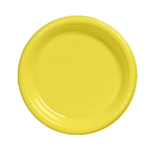Creative Converting Touch of Color 20 Count Plastic Dinner Plates, Mimosa