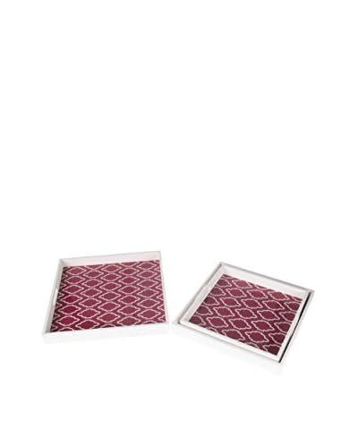 Privilege, Inc. 3-Piece Wooden Tray Set, White/Red