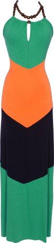 Chevron Colorblock Maxi Halter Dress, Small, Green-Orange-Navy
