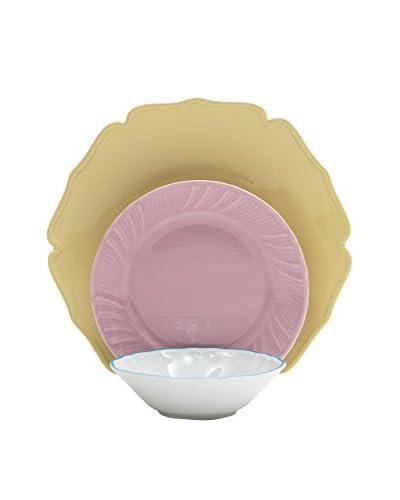 Bitossi Thuis serviesgoed 18 stuks . Stel Why Not geel / roze / wit