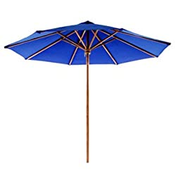 Indonesian Teak Patio Umbrella-Blue