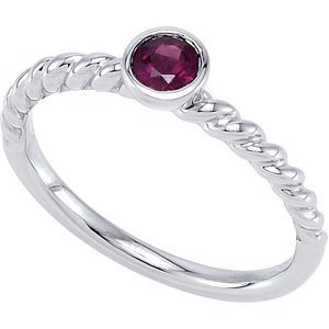 Genuine IceCarats Designer Jewelry Gift Sterling Silver 04.00 Mm Stackable Ring. 7 Garnet 04.00 Mm Stackable Ring In Sterling Silver Size 7