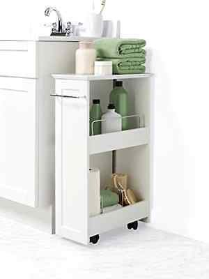 Bathroom Floor Storage Rolling Cabinet Organizer Bath Toilet Towel Shelves White