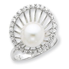 Sterling Silver CZ and Simulated Pearl Ring - Size 7 - JewelryWeb