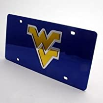 West Virginia Mountaineers Inlaid Acrylic License Plate - Blue Mirror Background
