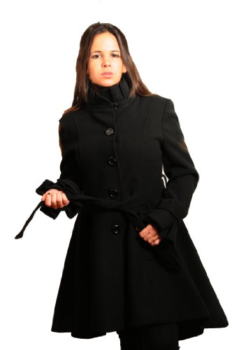 Black Wool Womens Fit And Flare Coat With Belt