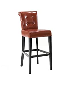 Armen Living 4032 Sangria 30-Inch Stationary Tufted Burnt Sienna Bonded Leather Pub High Barstool