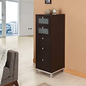 Furniture of america brown five drawer storage for Kitchen cabinets 16 inches deep