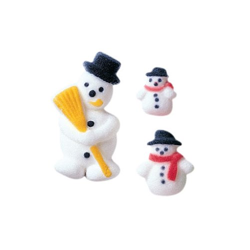 Winter Christmas Snowman Assortment Sugar Decorations Cookie Cupcake Cake 12 Count