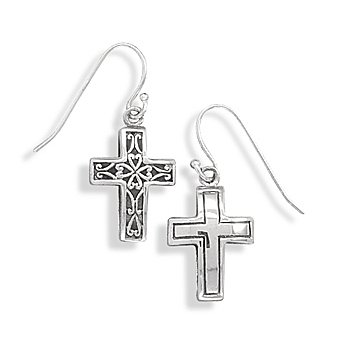 Sterling Silver Reversible Plain and Filigree Design Cross Earring