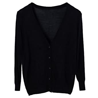 Dehang Women Casual V Neck Front Button Knit Cardigan 3/4 Sleeves Sweater - Black