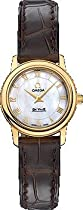 Omega De Ville Prestige Mother of Pearl Dial 18kt Yellow Gold Brown Leather Ladies Watch 4670.71.02
