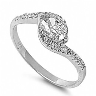 Genny's Twist Design Oval CZ Promise Ring - 8