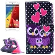 Warm Owls Family Pattern Horizontal Flip Leather Case with Holder Card Slots Wallet for MOTO G (2nd Gen.)