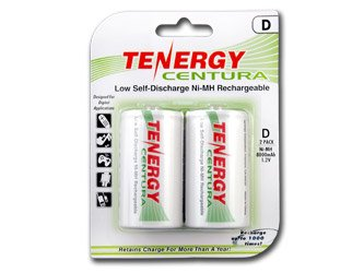 Tenergy Centura D Size Low Self-Discharge-LSD NiMH Rechargeable Batteries, 1 Card 2xD