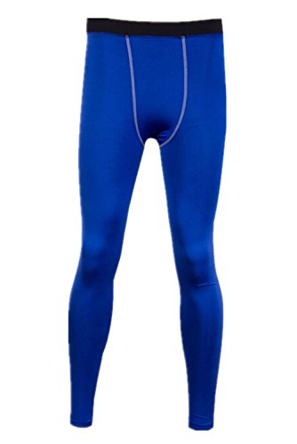 Mens Compression Base Layer Long Pants Tight Under Skin Sports Gear (Asia 2Xl (Us L), Blue)
