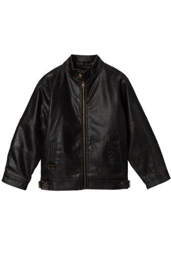 Momo Kids Black Faux Leather Motorcycle Jacket - XL