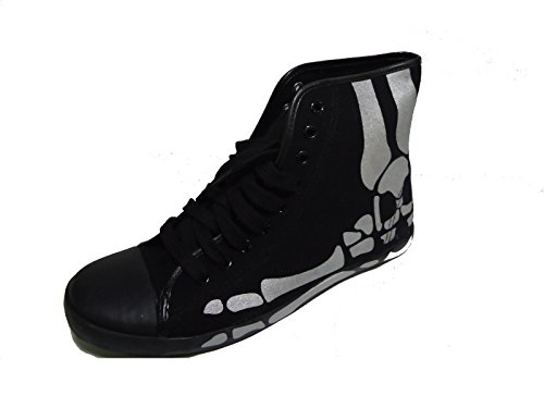 Be&d By Maison Dumain Silver Skull on Black Canvas Men Casual or Sports Wear Sneakers