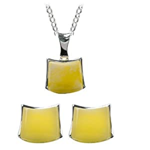 Butterscotch Amber and Sterling Silver Pendant and Designer Earrings Set, 18""