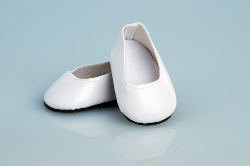 White Leather Dress Shoes - 18 Inch Doll Shoes - 1