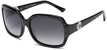 PolarOne Women's P1-6035  (C2) Polarized Square Fashion With Twisting Metal Botton On Handle Sunglasses,Crystal Grey Frame/Grey Lens,one size