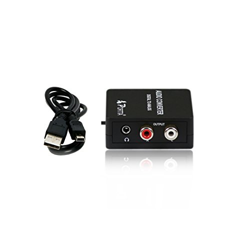 Portta PETDAS Digital Coaxial Toslink to Analog RCA L/R Audio Converter with 3.5mm Jack Support Headphone/Speaker Output (Turntable With Rca Output compare prices)