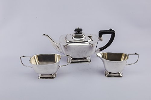 3 Art Deco Vintage Tapered TEA SET Small Retro Slick Silver Plated Metal Unique Serving English 1930s LS (Pewter Tea Service compare prices)