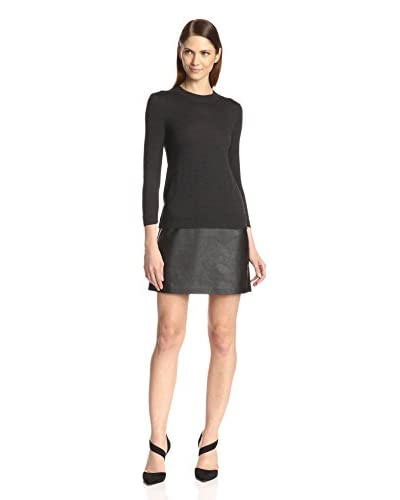 Susana Monaco Women's Popover Sweater Dress with Faux Leather Skirt