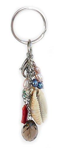 Portachiavi Borsetta: Acciaio, quarzo fumé, Shell, Corallo, tuquoise, d'acqua dolce genuino perle coltivate.