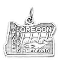 Sterling Silver Oregon Charm