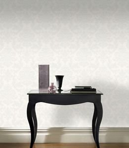 Rasch Glitter Damask Wallpaper - White by New A-Brend