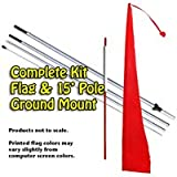 Cherry Red Advertising Wind Dancer/ Windtail Flag Banner - Complete Kit with 15' Pole Set and Ground Mount Stake