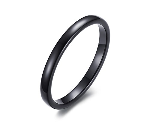 [2mm High Domed Plain Domed Tungsten Carbide Classic Wedding Band Rings For Women Comfort Fit (Tungsten(black),] (Horse Costume Class)