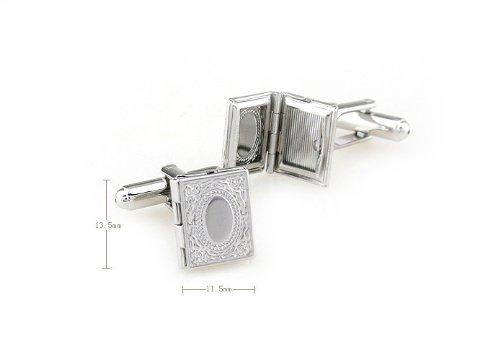 Men Cufflinks,Rectangular Engraved Photo Album Cuff link Can Open