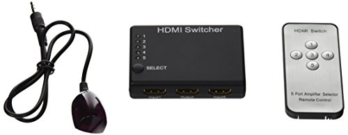 EnjoyGadgets EGHS5S 5 In 1 Out Remote Control 1080p Auto Switching 5-Port HDMI Switcher Selector with Support 3D