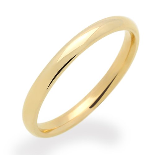 Little Treasures 14 ct Yellow Gold Wedding Band 2MM Plain Comfort Fit