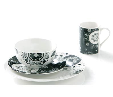 Black & White 16 Piece Dinner Tableware Sets in Paisley Design from Prime Furnishing