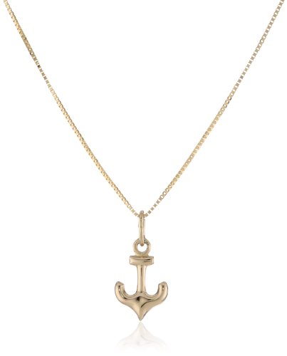 Boys' 14k Yellow Gold Anchor Pendant Necklace,